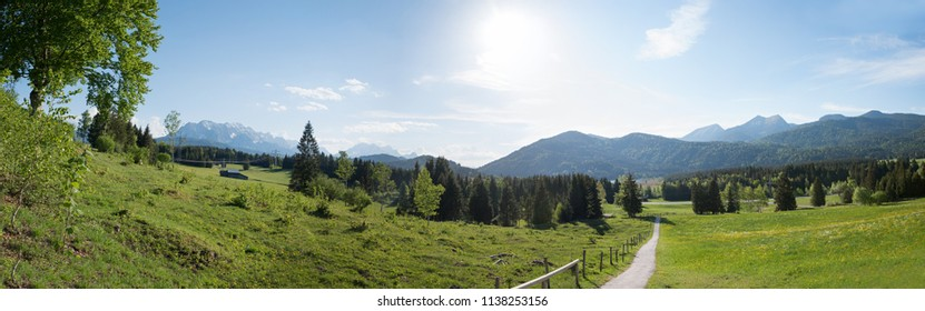 panoramic view from buckelwiesen to rural bavarian landscape in summer