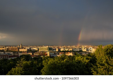 Panoramic view of Budapest after a rainstorm