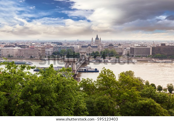 Panoramic view of Budapest from the Buda coast. View of St. Stephen's Basilica and Chain Bridge. Hungary