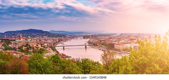 Panoramic view of Budapest with Danube, Buda hill and Pest, travel outdoor Hungary background