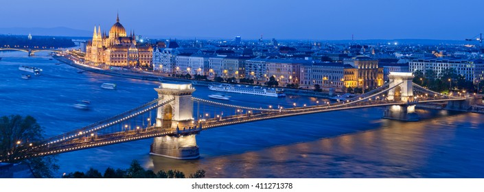 Panoramic view of Budapest with Danube,  Chain Bridge and Parliament building, Hungary