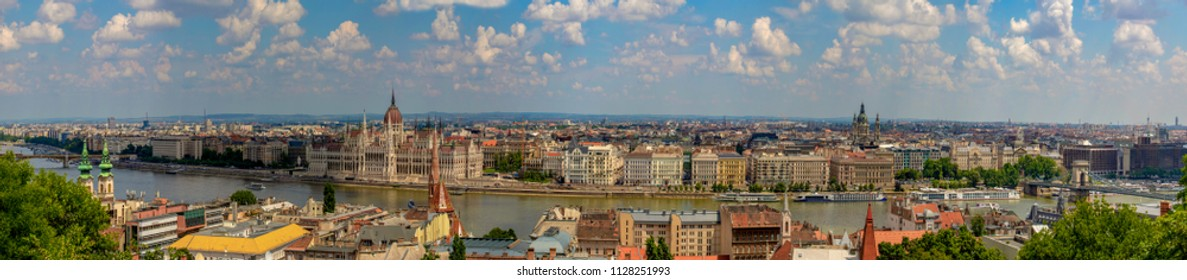 Panoramic view of Budapest. Historical city view from the Castle District. Many buildings, artworks are listed by UNESCO as a World Heritage site, and was first completed in 1265. Panoramic Image.