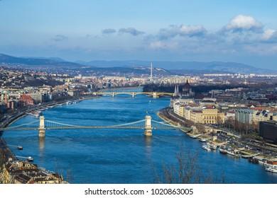 Panoramic view of Budapest, Hungary. Parliament building, bridges over the Danube (Chain Bridge), Margaret Island
