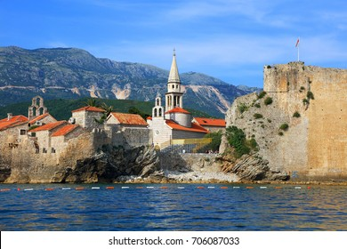Panoramic view of the Budva Riviera travel destination from the beach Mogrenof the fortress of the Old Town. Budva - one of the best preserved medieval cities in the Mediterranean, Montenegro, Europe
