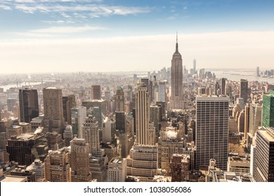 Panoramic view of building and skyscrapers in Midtown and downtown skyline of lower Manhattan, New York City, USA.