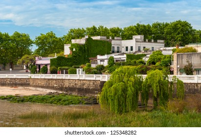 Panoramic view of buildings in the coast of Colonia del Sacramento, Uruguay
