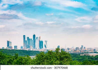 Panoramic View Of Buildings Of Moscow City Complex Of Skyscrapers From Sparrow Hills, Russia