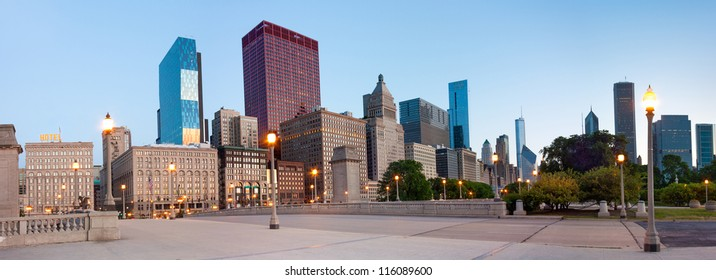 Panoramic View of buildings on  South Wabash Avenue in Chicago in the early morning