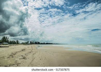 Panoramic view of Bungai Beach as tourist attraction in Miri Sarawak, East Malaysia, Borneo.