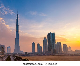 Panoramic view of Burj Khaleefa and Dubai skyline