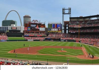 Panoramic view of Busch Stadium in Saint Louis