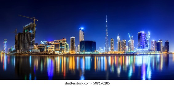 Panoramic view of Business bay of Dubai, UAE