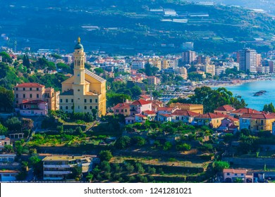 Panoramic view of Bussana and Arma di Taggia on the Italian Riviera in the province of Imperia, Liguria, Italy