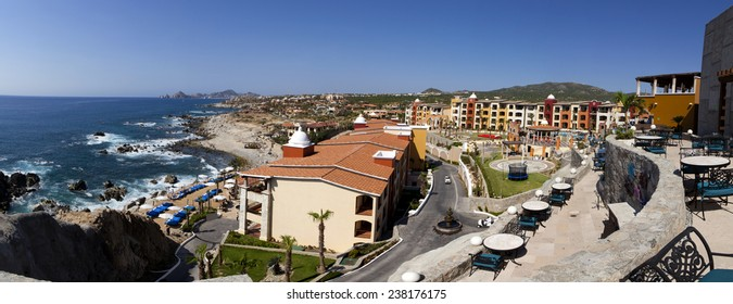 Panoramic view of Cabo San Lucas, Mexico. Lands end can be seen in the far background. 9 pictures were used to make this large image