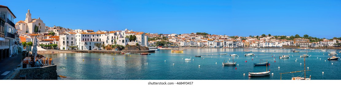 Panoramic view of Cadaques on Mediterranean seaside, Costa Brava, Catalonia, Spain