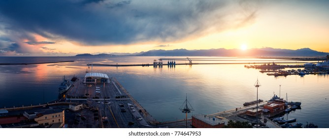Panoramic view of the Cagliari harbor at sunset