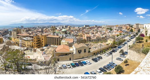 Panoramic view of Cagliari old town, Sardinia island, Italy. Cagliari is an ancient city, now is the capital and the largest city of Italian island of Sardinia
