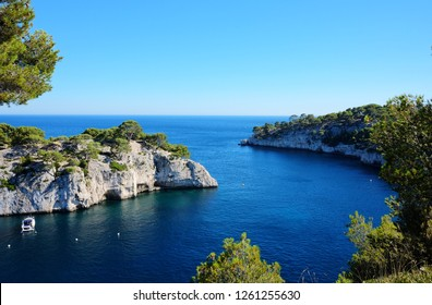 Panoramic view of Calanque de Port Pin in Calanques National Park, between Marseille and Cassis, Provence, France.