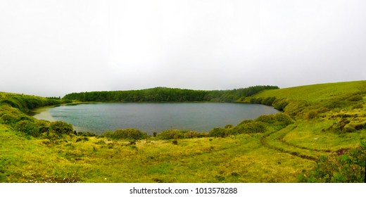 Panoramic view to Caldeira Lomba lake at Flores island at Azores. Portugal
