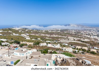 Panoramic view of the caldera, Fira and Oia from Pyrgos village,