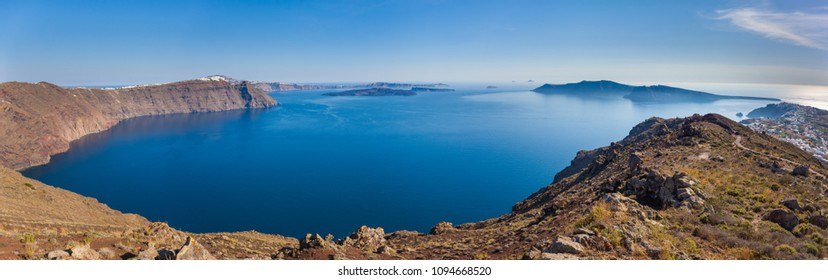 Panoramic view of the caldera from the northern edge, Santorini, Greece