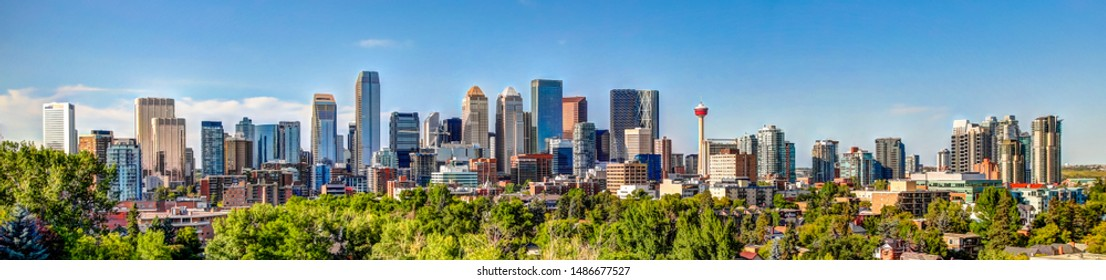Panoramic view of Calgary Alberta Skyline from the South at Sunset