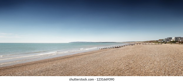panoramic view of camber sands beach in england