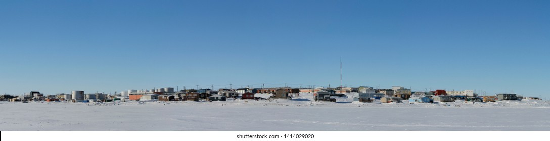 Panoramic view of Cambridge Bay, Nunavut, a far northern arctic community, during a sunny winter day