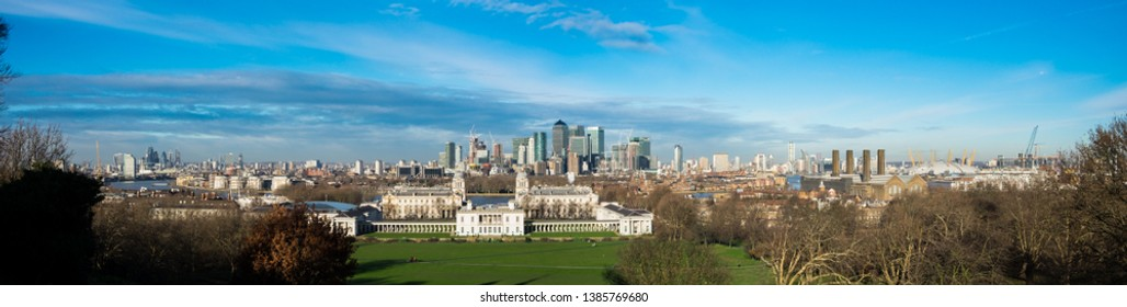 Panoramic view of Canary Wharf and Dog Island from Greenwich, London