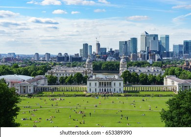 Panoramic view of Canary wharf viewed from Greenwich park in London,England
