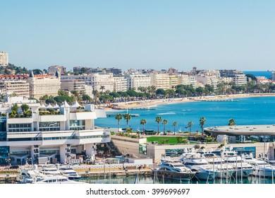 Panoramic view of Cannes, Promenade de la Croisette, the Croisette and Port Le Vieux of Cannes, France Cote d'Azur