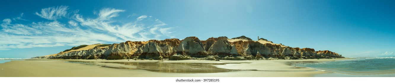 Panoramic View of Canoa Quebrada Beach in North East Brazil