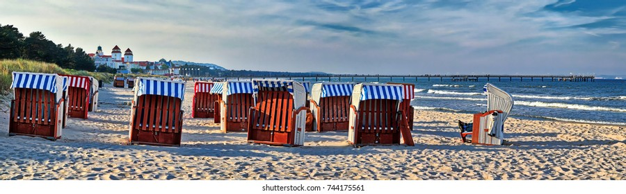 Panoramic view of Canopied beach chairs at the Beach near Binz at the Baltic Coast (Island Rugia, Germany)