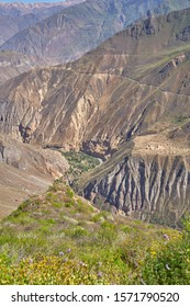 Panoramic view of Canyon de Colca, one the deepest in the world. Peru