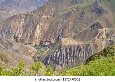 Panoramic view of Canyon de Colca, one of the deepest in the world. Peru