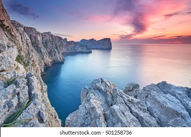 Panoramic view of the Cape Formentor at sunset. Majorca. Balearic Islands. Spain