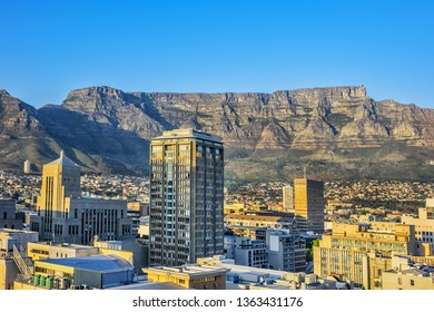 Panoramic view Cape Town city at sunrise on the background of the Table Mountains. Cape Town, South Africa.