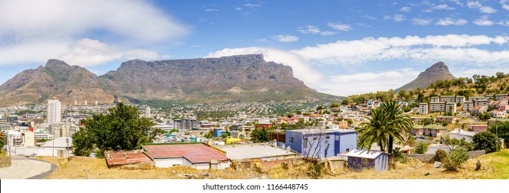 Panoramic view of Cape Town with Table Mountain and Lions Head  Mountain in the background