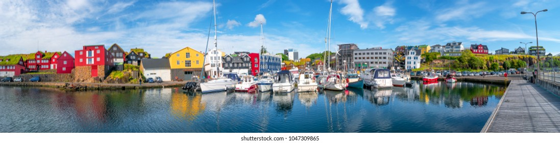 Panoramic view of capital Torshavn of Faroe islands, summer time