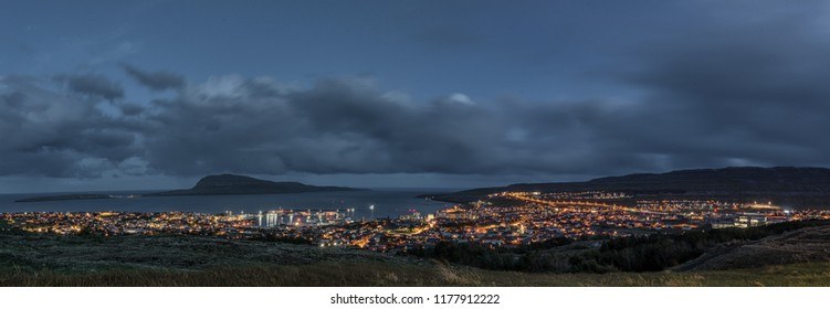 Panoramic view of capital Torshavn of Faroe islands in night time. view from the mountain. 11 sept 2018
