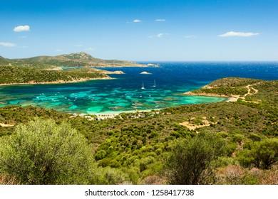 Panoramic view of Capo Malfatano, beautiful landscape on the south coast of Sardinia