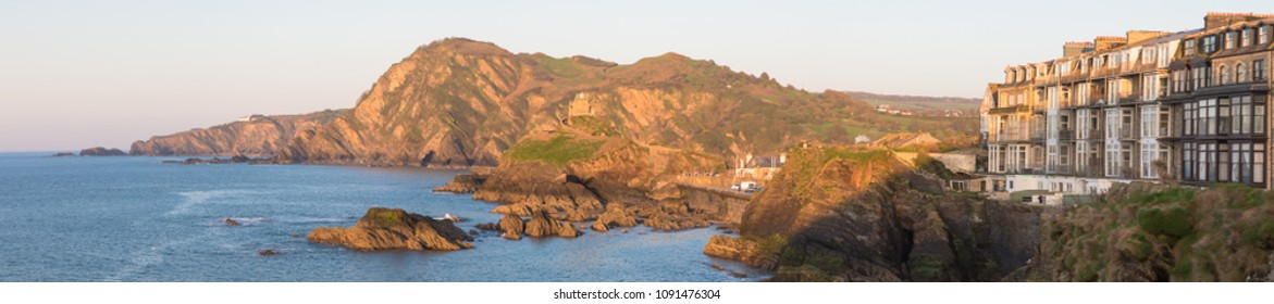 Panoramic view from the Capstone Hill towards Beacon Point at sunset, Ilfracombe, Devon, UK