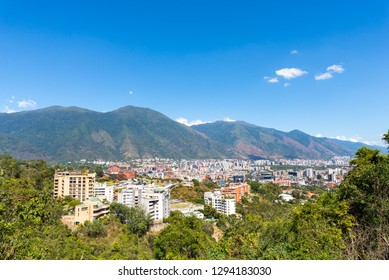 Panoramic view of Caracas with Avila mountain on a sunny day