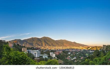Panoramic view of Caracas, capital city of Venezuela, at sunset