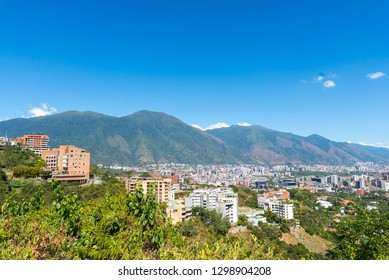 Panoramic view of Caracas city, with Avila mountain in the background