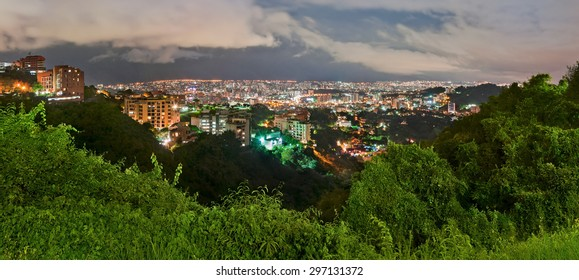 Panoramic view of Caracas from Valle Arriba observation point, at night