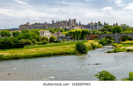 Panoramic view of Carcassonne fortress from Aude river, France