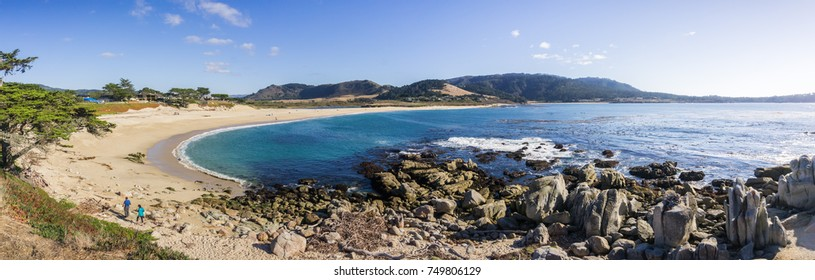 Panoramic view of Carmel River State Beach, Carmel-by-the-sea, Monterey Peninsula, California