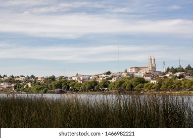 Panoramic view of Carmen de Patagones city from the oposite shore of Rio Negro river.  Nuestra señora del Carmen´s church stands out on the horizon.
