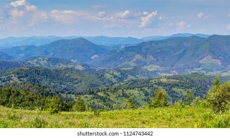 Panoramic view of the Carpathian Mountains.